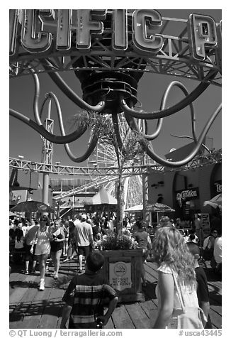 Pacific Park on Santa Monica Pier. Santa Monica, Los Angeles, California, USA (black and white)