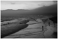 Beach with purple color at sunset. Santa Monica, Los Angeles, California, USA ( black and white)
