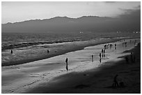Beach and Santa Monica Mountains at sunset. Santa Monica, Los Angeles, California, USA ( black and white)