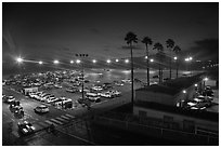 Beach Parking lot at sunset. Santa Monica, Los Angeles, California, USA ( black and white)