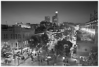 View from above of Third Street Promenade at dusk. Santa Monica, Los Angeles, California, USA ( black and white)