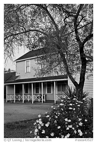 Historic building at dusk, Somoma Historical state park. Sonoma Valley, California, USA (black and white)