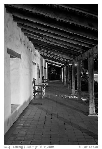 Mission Sonoma at night. Sonoma Valley, California, USA (black and white)