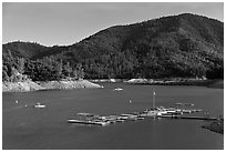 Deck and boats, Shata Lake. California, USA (black and white)