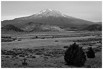Mount Shasta in late summer. California, USA ( black and white)