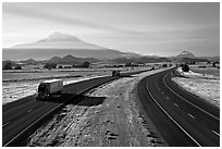 Highway 5 and Mount Shasta. California, USA (black and white)