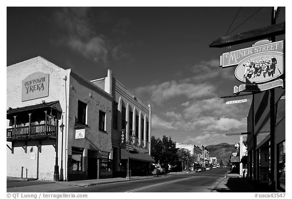Old town main street, Yreka. California, USA (black and white)