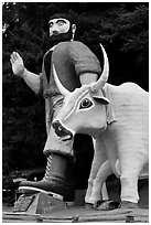 Paul Buyan and cow at the entrance of Trees of Mystery. California, USA ( black and white)