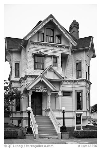 Yellow Victorian house, Eureka. California, USA (black and white)