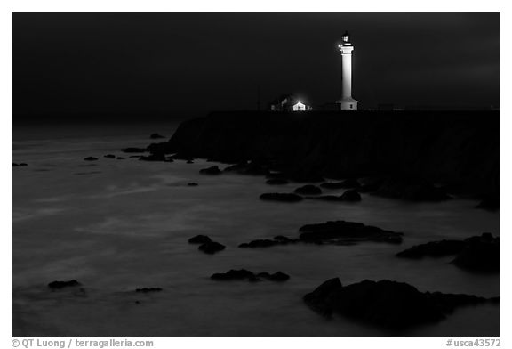 Point Arena Light Station at night. California, USA (black and white)