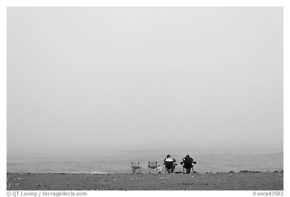 Sitting in front of foggy ocean, Manchester State Park. California, USA (black and white)