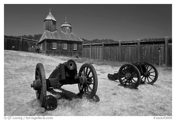 Cannons and chapel, Fort Ross Historical State Park. Sonoma Coast, California, USA (black and white)