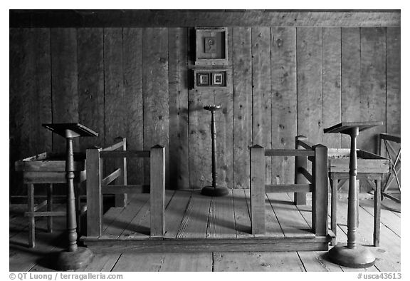Russian chapel interior,  Fort Ross Historical State Park. Sonoma Coast, California, USA (black and white)