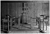 Russian chapel interior,  Fort Ross Historical State Park. Sonoma Coast, California, USA ( black and white)
