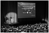Ken Burns and Dayton Duncan present National Parks film, Cowell Theater, Fort Mason Center. San Francisco, California, USA (black and white)