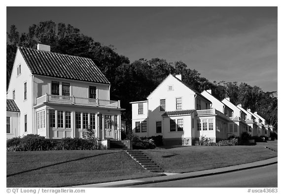 Former military residences, the Presidio. San Francisco, California, USA (black and white)