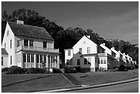 Former military residences, the Presidio. San Francisco, California, USA ( black and white)