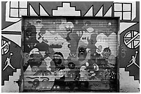 Painted garage door, Mission District. San Francisco, California, USA ( black and white)