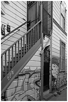 Mural at the bottom of house facade, Mission District. San Francisco, California, USA (black and white)