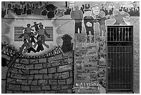 Political mural and door, Mission District. San Francisco, California, USA ( black and white)