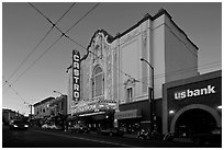 Castro theater at dusk. San Francisco, California, USA ( black and white)