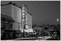 Castro Theater and Castro Street at dusk. San Francisco, California, USA ( black and white)
