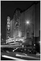 Light blurs and Castro Theater at night. San Francisco, California, USA ( black and white)