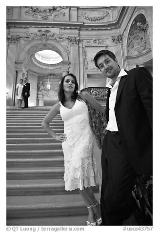 Couple waiting to be married, City Hall. San Francisco, California, USA