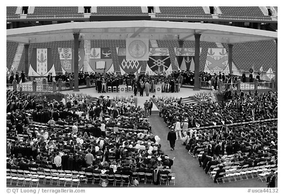 Beginning of commencement ceremony. Stanford University, California, USA (black and white)