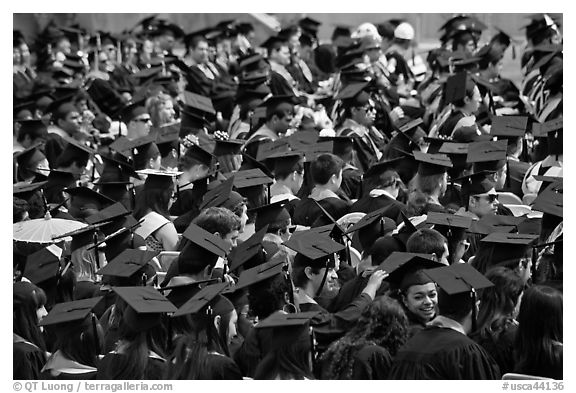 Graduating students in academic gowns and caps. Stanford University, California, USA (black and white)