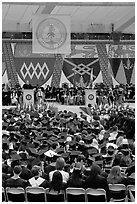 Justice Anthony Kennedy address new graduates at commencement. Stanford University, California, USA ( black and white)