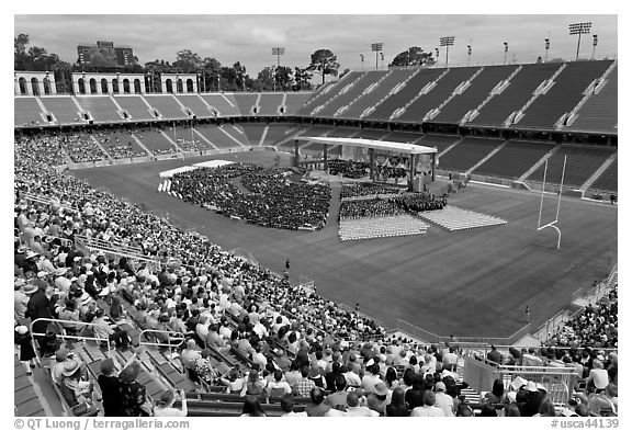 Commencement taking place in stadium. Stanford University, California, USA (black and white)