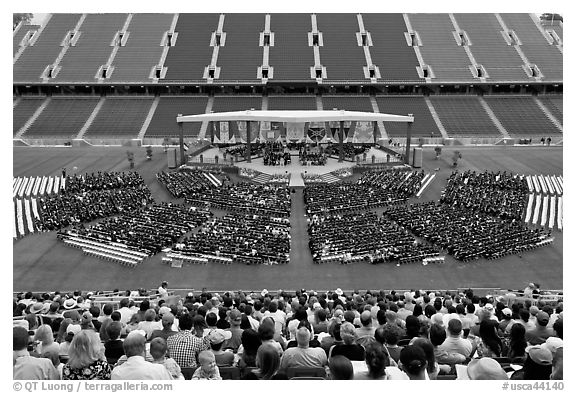 Stanford University commencement. Stanford University, California, USA (black and white)