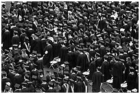 Rows of graduates in academic costume. Stanford University, California, USA (black and white)