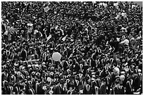 Mass of graduates in academic robes. Stanford University, California, USA ( black and white)
