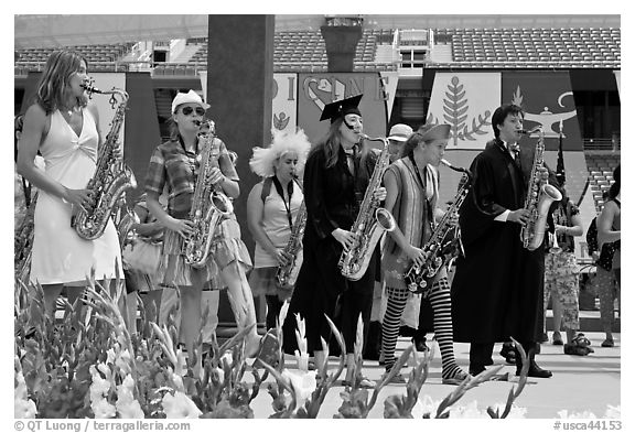 Stanford student band, commencement. Stanford University, California, USA (black and white)