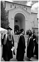Students in academicals lined up in front of Memorial auditorium. Stanford University, California, USA ( black and white)