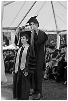 Professor confers doctoral scarf to student. Stanford University, California, USA (black and white)
