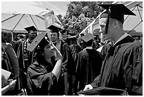Students after graduation ceremony. Stanford University, California, USA (black and white)