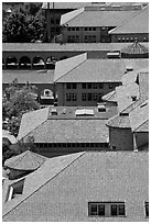 Red tiles rooftops seen from above. Stanford University, California, USA (black and white)
