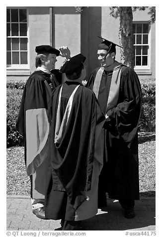 Academics in traditional dress. Stanford University, California, USA (black and white)