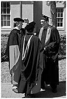 Academics in traditional dress. Stanford University, California, USA ( black and white)