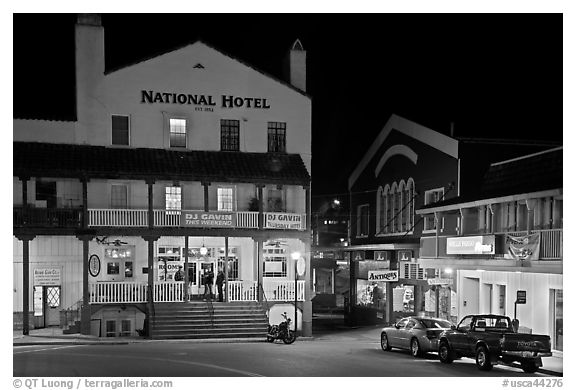 National Hotel by night, one of California oldest, Jackson. California, USA (black and white)