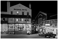National Hotel by night, one of California oldest, Jackson. California, USA ( black and white)