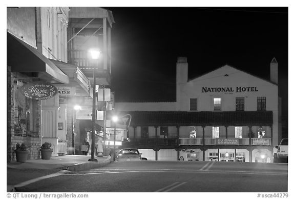 Main street and National Hotel by night, Jackson. California, USA (black and white)