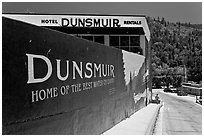 Home of the best water on earth mural, Dunsmuir. California, USA (black and white)