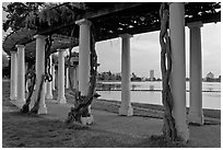 Colonade at dusk, Lake Meritt. Oakland, California, USA (black and white)