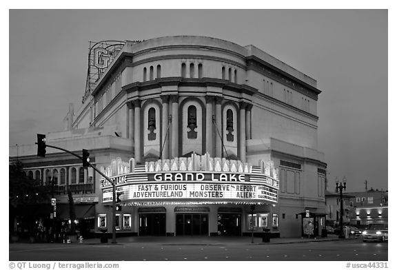 Grand Lake theater at dusk. Oakland, California, USA (black and white)