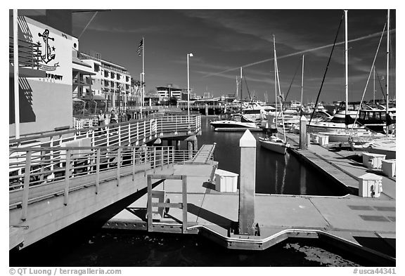 Marina, Jack London Square. Oakland, California, USA (black and white)