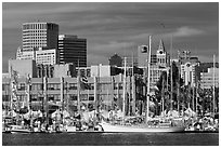 Marina and skyline. Oakland, California, USA ( black and white)